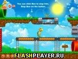 Черепаха бежит позади Марио